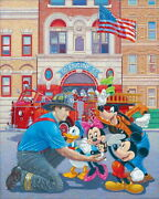 Disney Paintings Mickey Friends/engine 55 Limited To 295 Copies Canvas Zikre