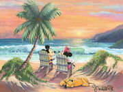 Disney Paintings Mickey Friends/vacation Paradise Limited To 195 Copies Canvas