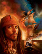 Disney Paintings Pirate Of Caribbean/midnight Raid Limited To 195 Copies Canvas