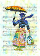 Disney Paintings Merry Poppins/mary Tune Limited To 195 Copies Canvas Zikre
