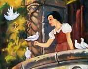 Disney Paintings Snow White On The Balcony Limited To 95 Copies Canvas Zikre