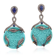 18k Gold Carved Turquoise Sapphire Diamond Leaf Dangle Earrings Silver Jewelry