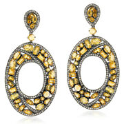 18kt Gold Pave Diamond 18.46ct Citrine Dangle Earrings Silver Party Wear Jewelry