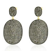 4.49ct Pave Diamond Dangle Earring Gold 925 Sterling Silver Vintage Look Jewelry