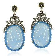 60.35ct Agate Diamond 18kt Gold Sterling Silver Dangle Earrings Carving Jewelry