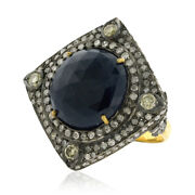 18k Gold 925 Silver 12.3ct Blue Sapphire Diamond Cocktail Ring Vintage Jewelry
