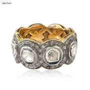 Solid 14k Gold Sterling Silver Uncut/rose Cut Diamond Band Ring Jewelry Gift