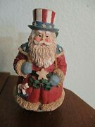 Cute Patriotic Santa Claus Figurine-bag Of Toys-red/white/blue Roly Poly Style