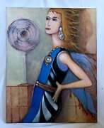 Painting Vintage Modernist Outsider Art Pretty Blonde Cools Off In Front Of Fan