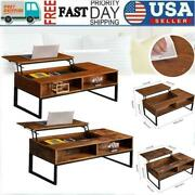 Lift-up-top Coffee Table W/hidden Storage Compartment And Shelf Table Brown Finish