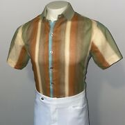 Vtg 60s 70s Shirt Mens Large Polyester Rayon Disco Mid-century Rat Pack Striped