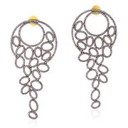 14k Gold 925 Sterling Silver 4.41ct Pave Diamond Dangle Earrings Antique Jewelry
