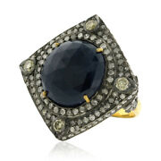 Natural Diamond Rose Cut Sapphire Designer Ring 18kt Gold Silver Vintage Jewelry