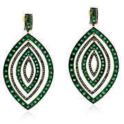 Pave Emerald And Diamond Dangle Earrings 18k Gold 925 Silver Jewelry Gift