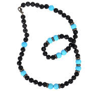439.7ct Turquoise Onyx Diamond 925 Sterling Silver Bead Necklace Carving Jewelry