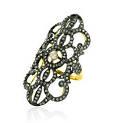 1.83ct Pave Diamond Long Ring 18k Gold 925 Sterling Silver Women Jewelry