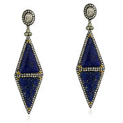 Natural Pave Diamond And Lapis Lazuli Dangle Earrings18k Gold 925 Silver Jewelry