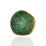 5.39ct Tsavorite Dome Ring 925 Sterling Silver 18k Gold Women Jewelry Gift