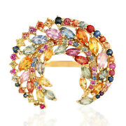Marquise Cut Multi Sapphire Cocktail Ring 18k Yellow Gold Women Jewelry Gift