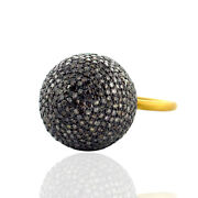 Pave Diamond Bead Ball Style Ring 14k Gold 925 Sterling Silver Jewelry 5.4ct