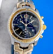 Menand039s Tag Heuer Link 18k Gold And Ss Chronograph Watch - Black Dial - Ct1152