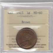 1915 Canada Large One Cent Coin - Iccs Graded Ms-60