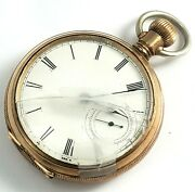 Antique 1898/1920s Columbia Pocket Watch Key Wind Open Face Hunting 4/restore