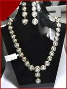 925 Sterling Silver Rose Cut Diamond Polki Necklace Set Victorian Look Jewelry