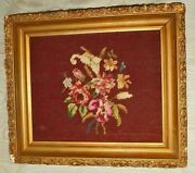 Needlepoint Flowers Framed Antique Vintage Hollywood Regency Chair Seat Cover