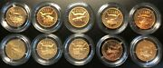 Russia Kaliningrad Metal Tompak Set Of 10 Coins 1 Stamp Glory Of Russian Weapons
