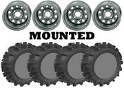 Kit 4 Legacy 589 M/s Tires 25x10-12 On Itp Delta Steel Silver 12mm Wheels Ter