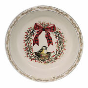 Tabletop Birds And Berries Pie Dish Stoneware Holiday Gathering Xm0379