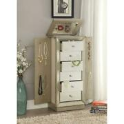High Quality Jewelry Armoire Top Lid With Mirror Storage Organizer Antique Gold