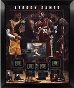 Lebron James Framed Photo With Rings Shadowbox Laser Engraved Signature
