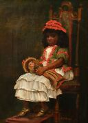 19th Century English Victorian Portrait Of A Black Girl Holding A White Doll