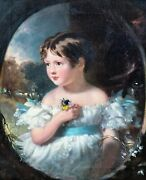 Large 19th Century English Portrait Of A Girl Wearing White Dress And Flowers