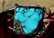 Beautiful Old Pawn Navajo Sterling Silver And Big Turquoise Stone Nugget Bracelet
