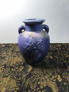 Roseville Double Handle Blue 6 Inch Flower Vase Early Unmarked