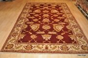 Top Quality 6and039x9and039 Handmade Red Burgundy Gold Handmade Vegetable Dye Oriental Rug