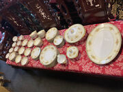 66 Piece Meito Made In Japan Antique Hand Painted China Set Buckingham Gold