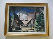 Vintage Old Mining Ghost Town Painting Iconic Historic Regionalist Signed Rare