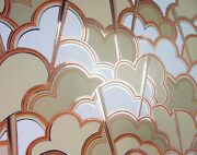 Vintage Wallpaper Two Rolls Graphic Cloud 1970s Silver Orange Nos Fabric Backing