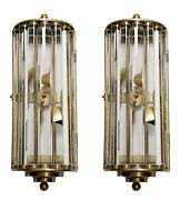 Pair Of Vintage Old Antique Art Deco Brass And Glass Rod Wall Scones Lamp