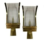 Pair Of Old Antique Skyscraper Art Deco Brass And Glass Rod Wall Scones Lamp