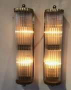 Pair Of Old Antique Art Deco Brass And Glass Rod Wall Scones Lamp