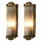 Pair Of Vintage Old Antique Art Deco Brass And Glass Rod Wall Scone Lamp