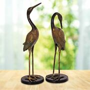 Spi Home Pair Of Heartwarming Crane Couple Cast Brass And Marble Statues