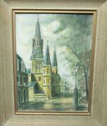 James Hussey St Louis Cathedral New Orleans Original Oil On Board Painting