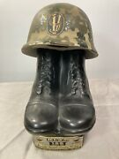 Vintage 1975 Jim Beam Whiskey Decanter Bottle, 9v Army Boots And Helmet