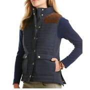 Vineyard Vines Navy Blue Suede Quilted Hunting Vest Size Womenandrsquos Small